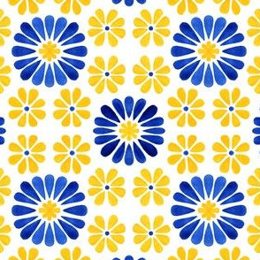 Azulejos Tlie Yellow and Blue Flowers
