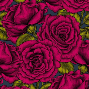Red roses, seamless vector pattern