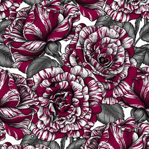 Bi color roses, white and dark red, seamless vector pattern