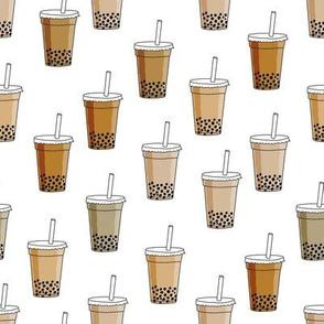 bubble tea fabric - food fabric, iced coffee fabric, iced tea fabric, bubbles, boba, boba tea, milky tea, matcha - coffee