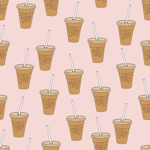 iced coffees fabric - coffee fabric, latte fabric, coffee design, cute coffee, - blush