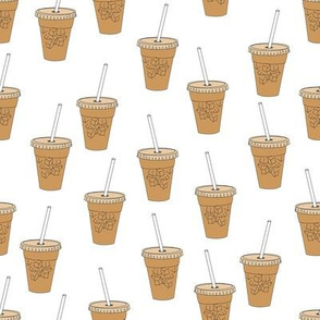 iced coffees fabric - coffee fabric, latte fabric, coffee design, cute coffee, - white