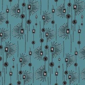 Modern Florals Slate Blue