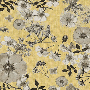 Faux Burlap Wild Yellow  Rose