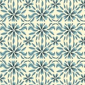 Teacup floral offwhite/aqua