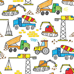 construction excavator crane truck hand darwn boys doodle