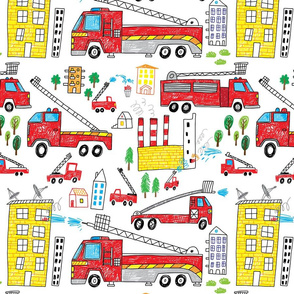 fire trucks boys hand drawn