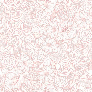 floral linework - blush