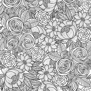 floral linework - black
