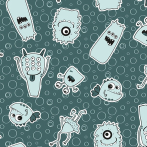 Friendly monsters Pine background