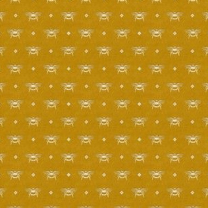 Bee Stamped Emblem on Mustard Gold - Small Scale