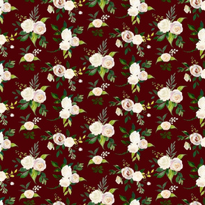 Spring Fresh White Rose Floral // Aggie Red