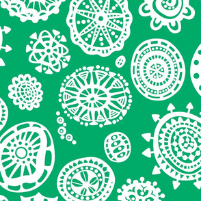 fancy dot extravaganza jumbo white on grassy green