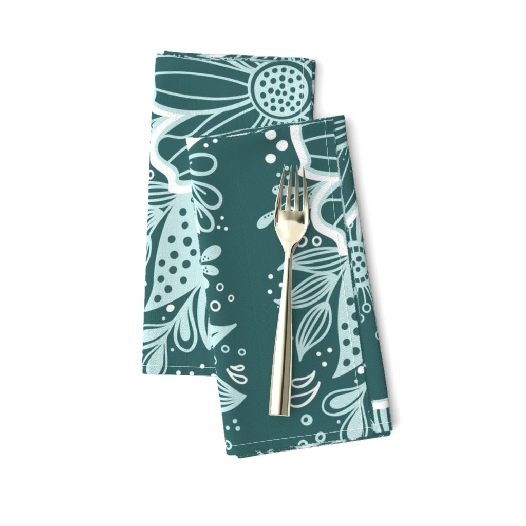 Amarela Dinner Napkins featuring Pine and Mint flowers throw pillow by kathryncole