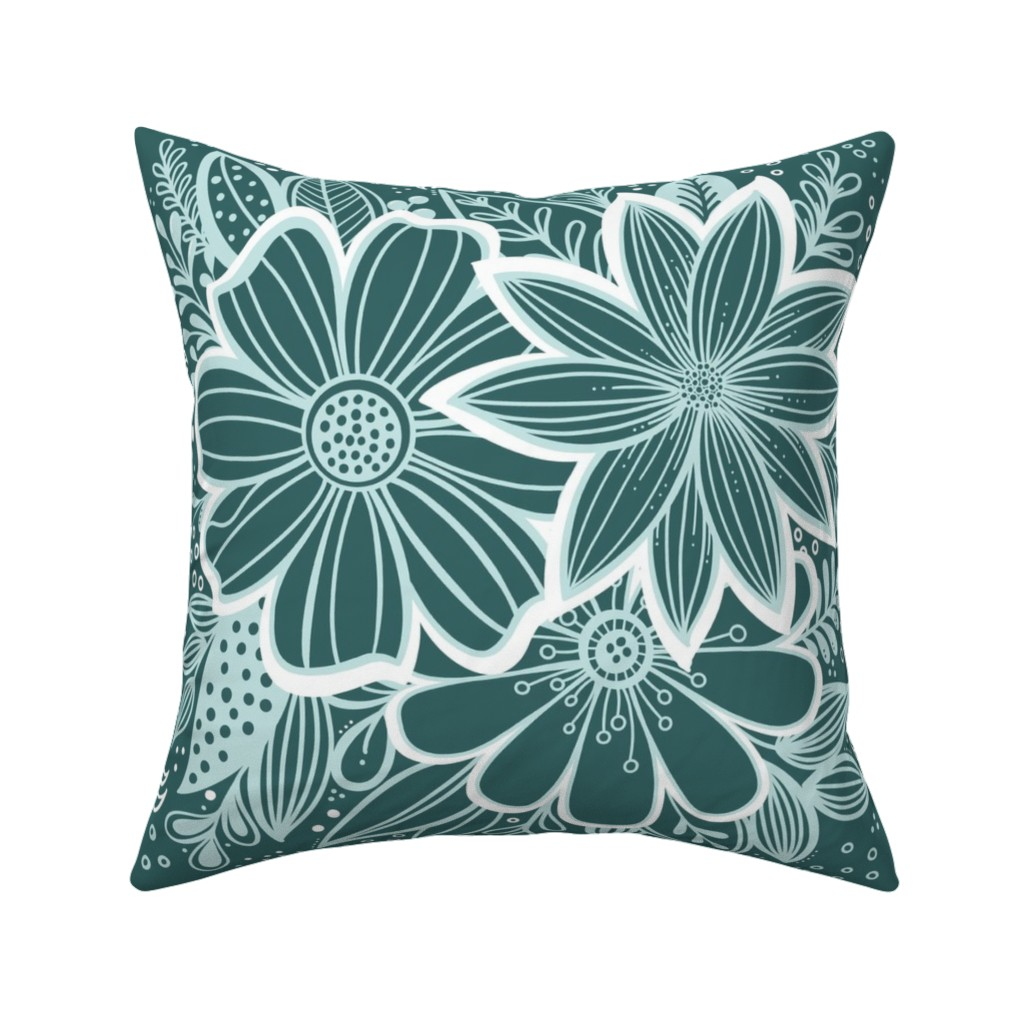 Catalan Throw Pillow featuring Pine and Mint flowers throw pillow by kathryncole