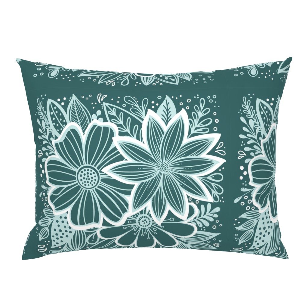 Campine Pillow Sham featuring Pine and Mint flowers throw pillow by kathryncole