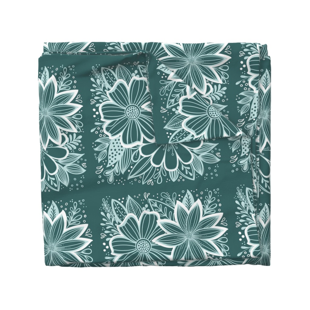 Wyandotte Duvet Cover featuring Pine and Mint flowers throw pillow by kathryncole
