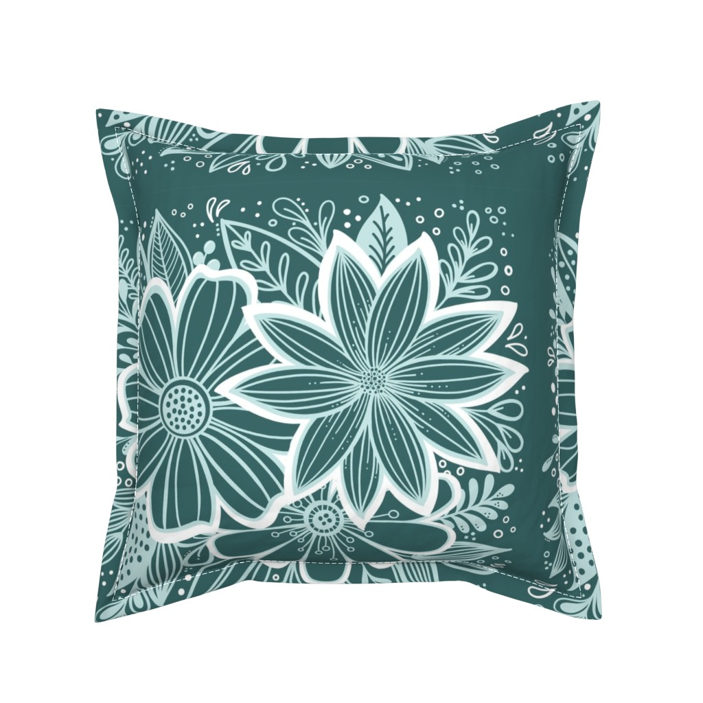 Serama Throw Pillow featuring Pine and Mint flowers throw pillow by kathryncole