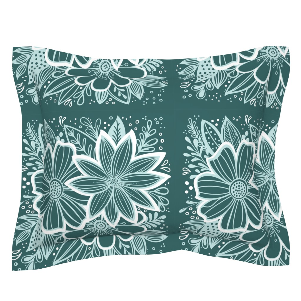 Sebright Pillow Sham featuring Pine and Mint flowers throw pillow by kathryncole
