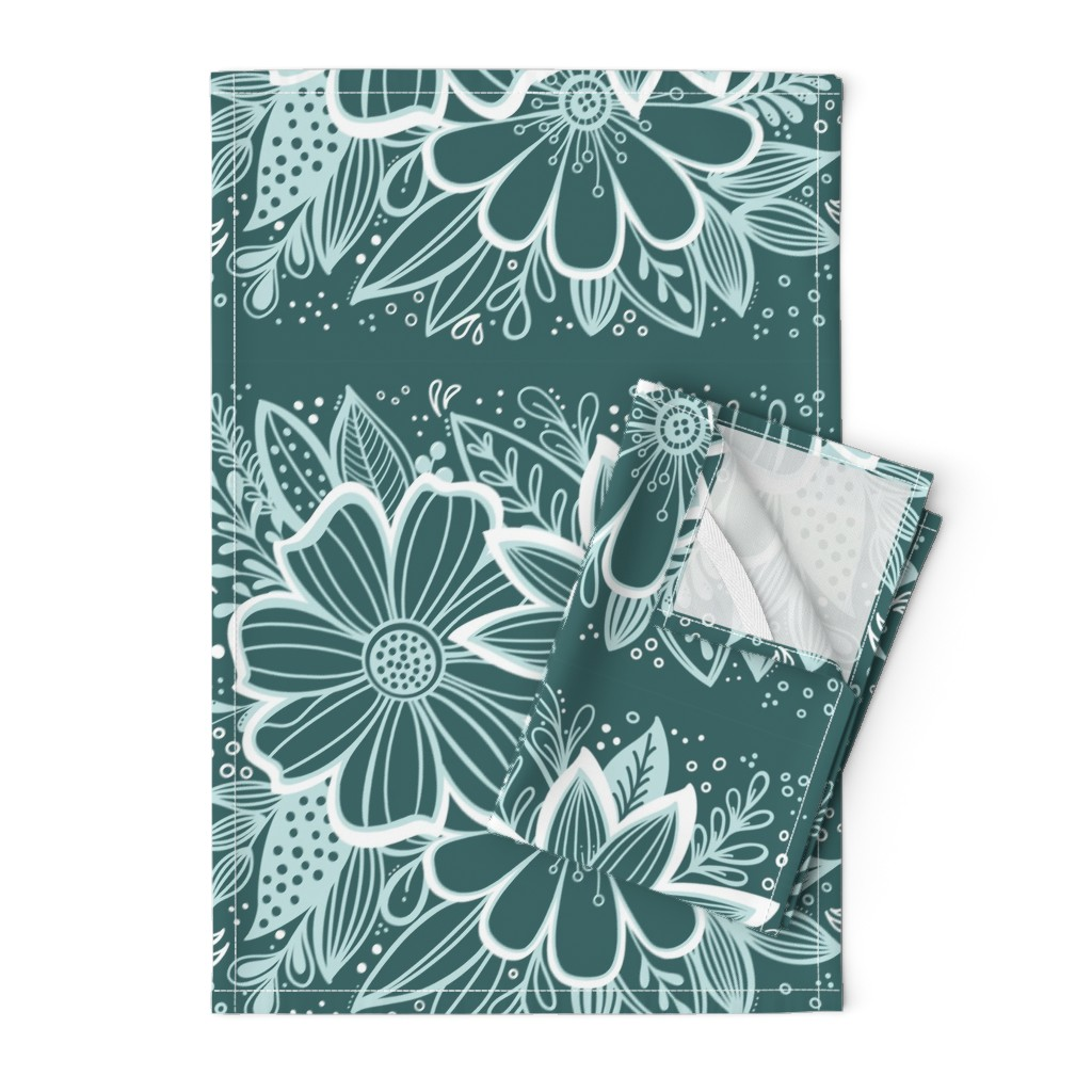 Orpington Tea Towels featuring Pine and Mint flowers throw pillow by kathryncole