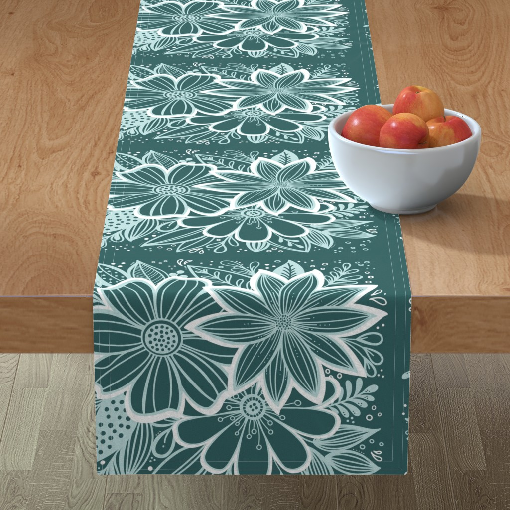 Minorca Table Runner featuring Pine and Mint flowers throw pillow by kathryncole