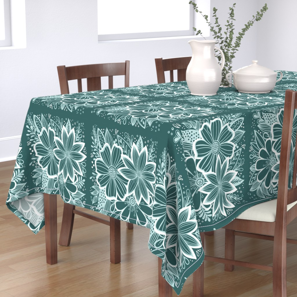 Bantam Rectangular Tablecloth featuring Pine and Mint flowers throw pillow by kathryncole