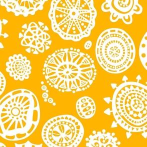 fancy dot extravaganza jumbo white on saffron yellow