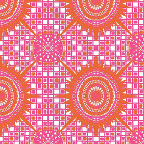 boho brights wonky medallions - pink and orange