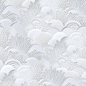 Paper Cut Faux Texture- White Lace Scalloped Garden- Gray- Large scale- Home Decor- Novelty- Jumbo Scale Botanical Wallpaper