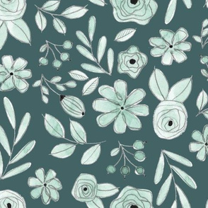 Mint on Pine Floral