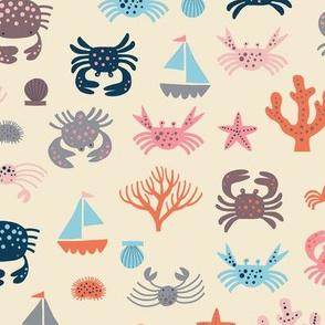 Creepy Crawly Crabs offwhite