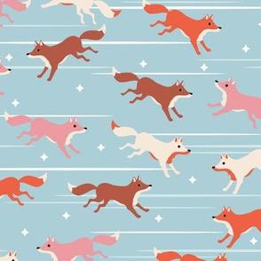 Running fox - light blue