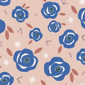 Blue and Blush Floral with Stars