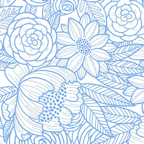 floral linework - large scale -  periwinkle