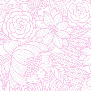 floral linework - large scale - pink