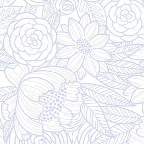 floral linework - large scale - lilac