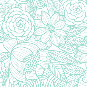 floral linework - large scale - turquoise