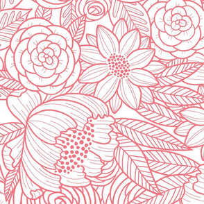 floral linework - large scale - salmon