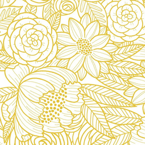 floral linework - large scale - mustard