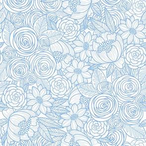 floral linework - periwinkle