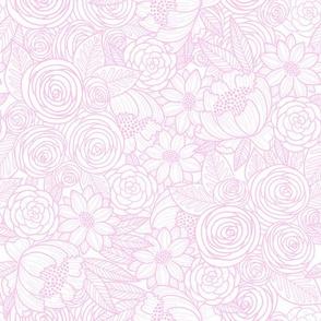floral linework -  pink