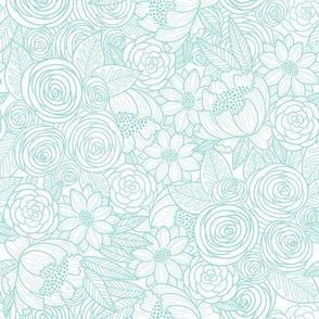floral linework - turquoise