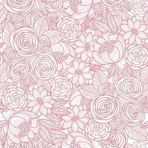 floral linework - salmon