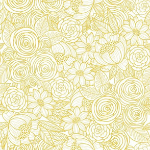 floral linework mustard