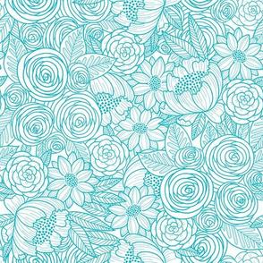 floral linework - teal