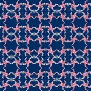 Pink Starfish on Navy - Teeny Tiny
