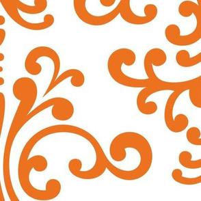 XL damask reversed orange