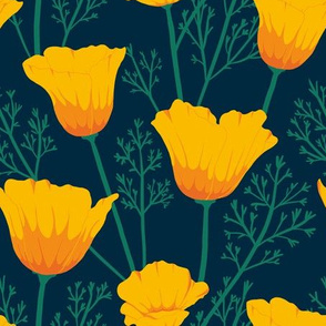 Poppies, yellow, green, flowers, delicate