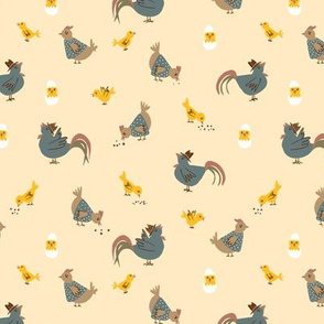 Chicken, rooster, chick on yellow
