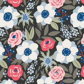 Anemones and roses on the dark background